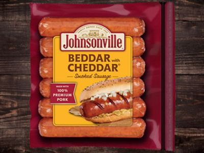 Package of Johnsonville Beddar with Cheddar Smoked Sausage for convenience stores.