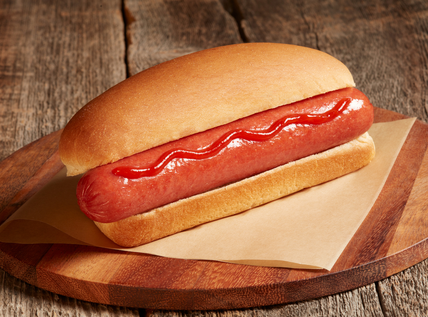 skinless Beef Hot Dog from Johnsonville C-Store for convenience store roller grill served plain on a bun with ketchup